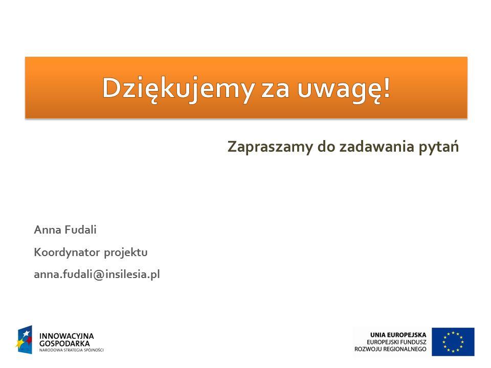 Anna Fudali Koordynator projektu anna.fudali@insilesia.pl Zapraszamy do zadawania pytań
