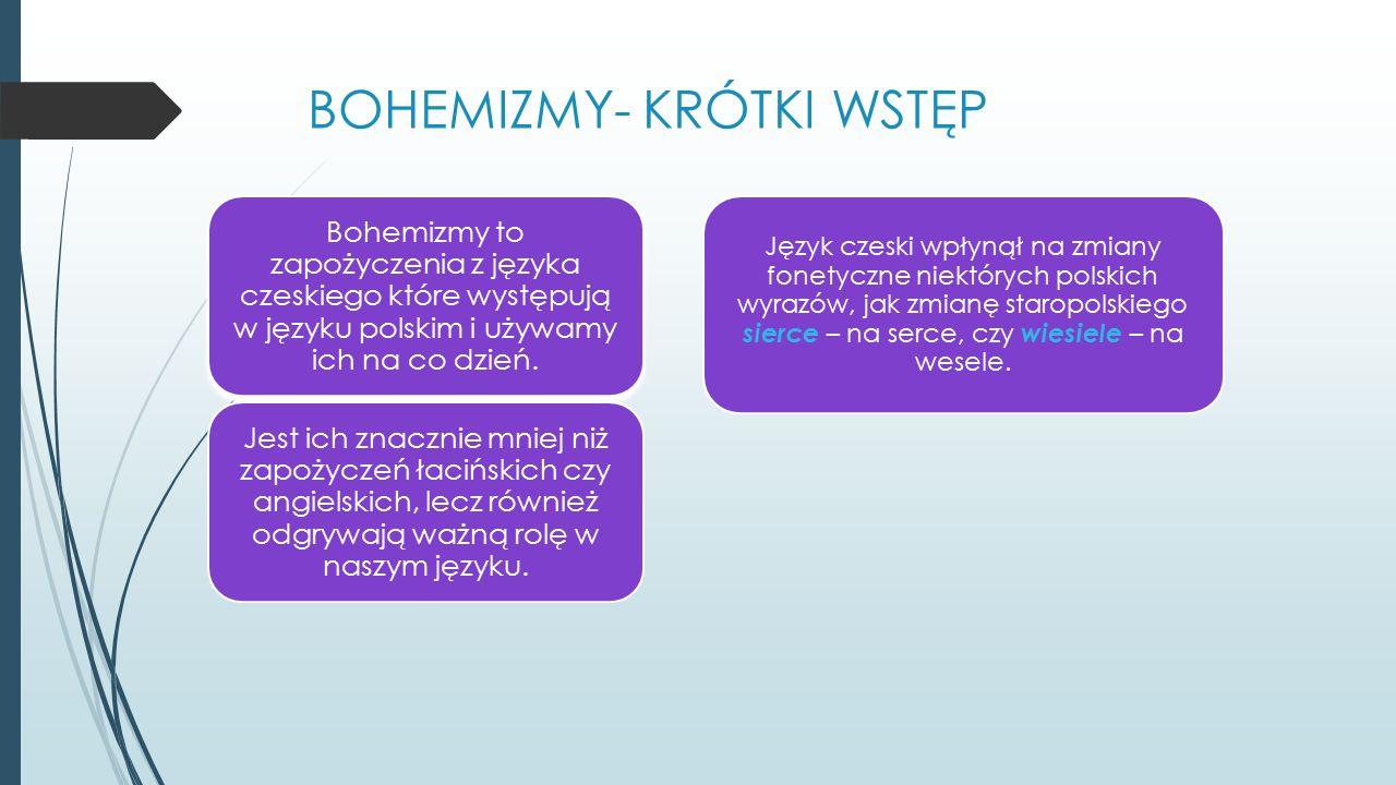 BOHEMIZMY- KRÓTKI WSTĘP Bohemizmy to zapożyczenia z języka czeskiego które występują w języku polskim i używamy ich na co dzień.