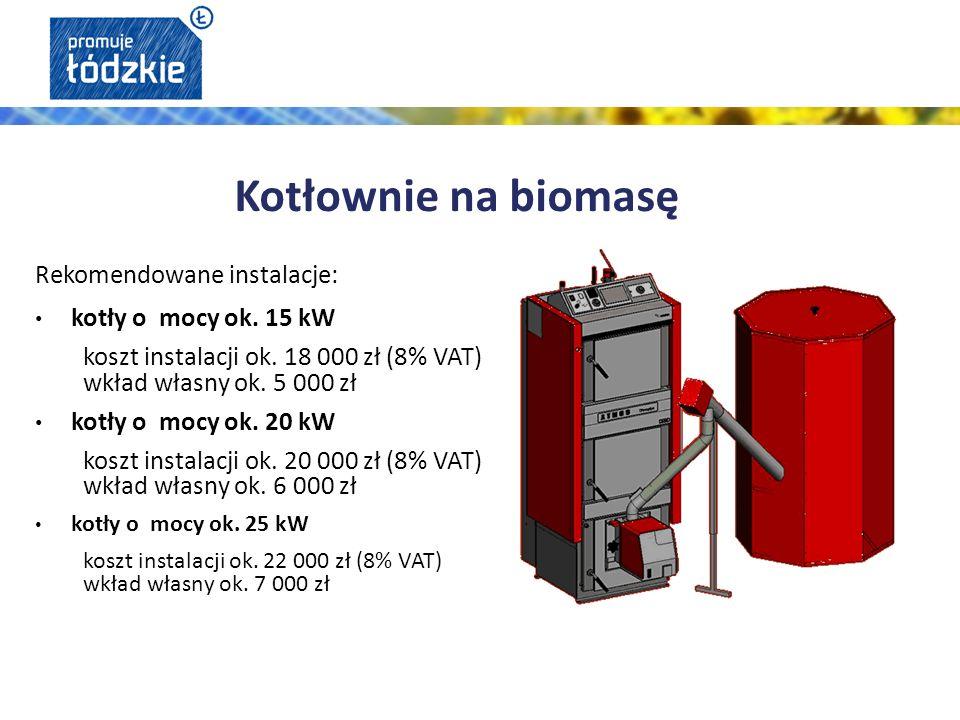 Rekomendowane instalacje: kotły o mocy ok. 15 kW koszt instalacji ok.