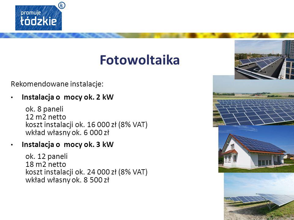 Rekomendowane instalacje: Instalacja o mocy ok.4 kW ok.