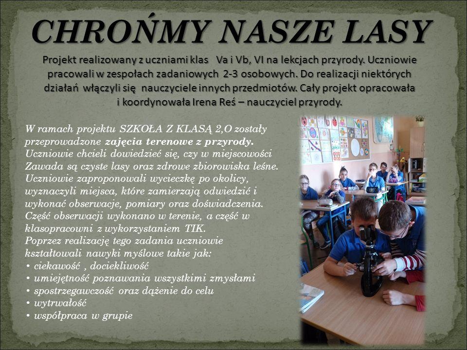 CHROŃMY NASZE LASY Projekt realizowany z uczniami klas Va i Vb, VI na lekcjach przyrody.