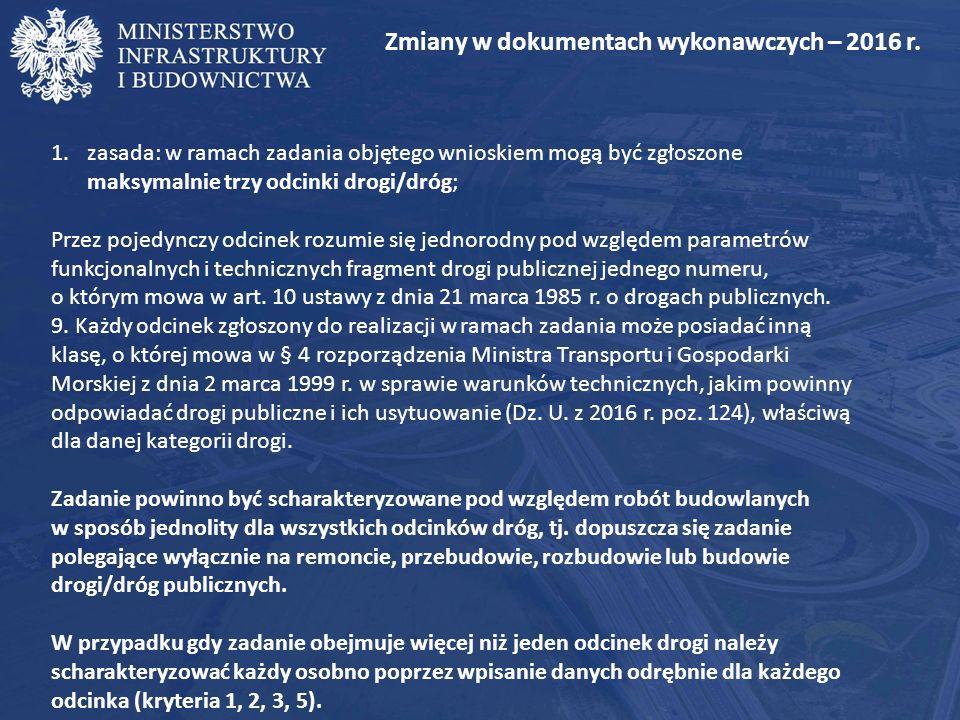 Zmiany w dokumentach wykonawczych – 2016 r.2.