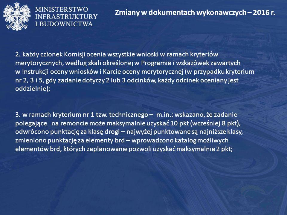 Zmiany w dokumentach wykonawczych – 2016 r. 2.