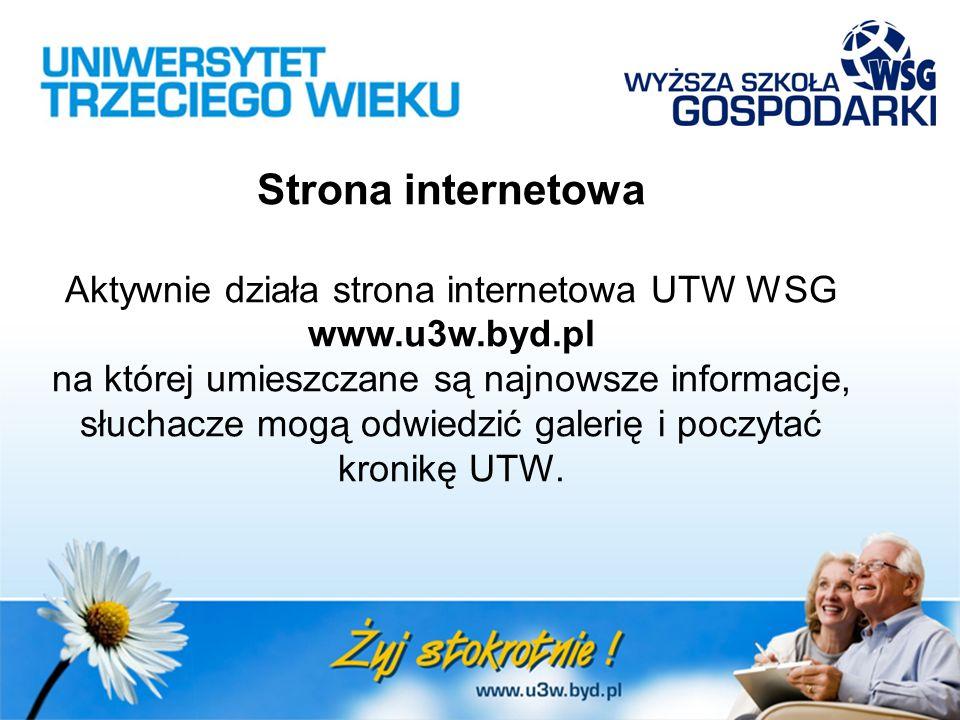 Strona internetowa Aktywnie działa strona internetowa UTW WSG www.u3w.byd.pl na której umieszczane są najnowsze informacje, słuchacze mogą odwiedzić galerię i poczytać kronikę UTW.