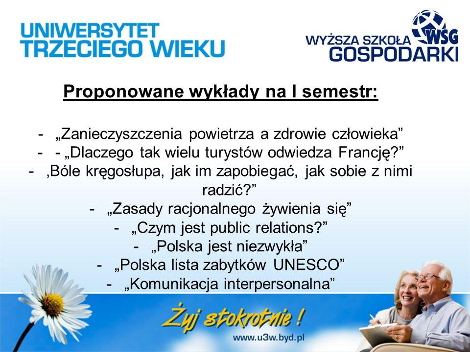 """Proponowane wykłady na I semestr: -""""Zanieczyszczenia powietrza a zdrowie człowieka -- """"Dlaczego tak wielu turystów odwiedza Francję? -'Bóle kręgosłupa, jak im zapobiegać, jak sobie z nimi radzić? -""""Zasady racjonalnego żywienia się -""""Czym jest public relations? -""""Polska jest niezwykła -""""Polska lista zabytków UNESCO -""""Komunikacja interpersonalna"""