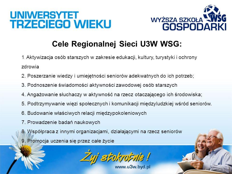 Cele Regionalnej Sieci U3W WSG: 1. Aktywizacja osób starszych w zakresie edukacji, kultury, turystyki i ochrony zdrowia 2. Poszerzanie wiedzy i umieję