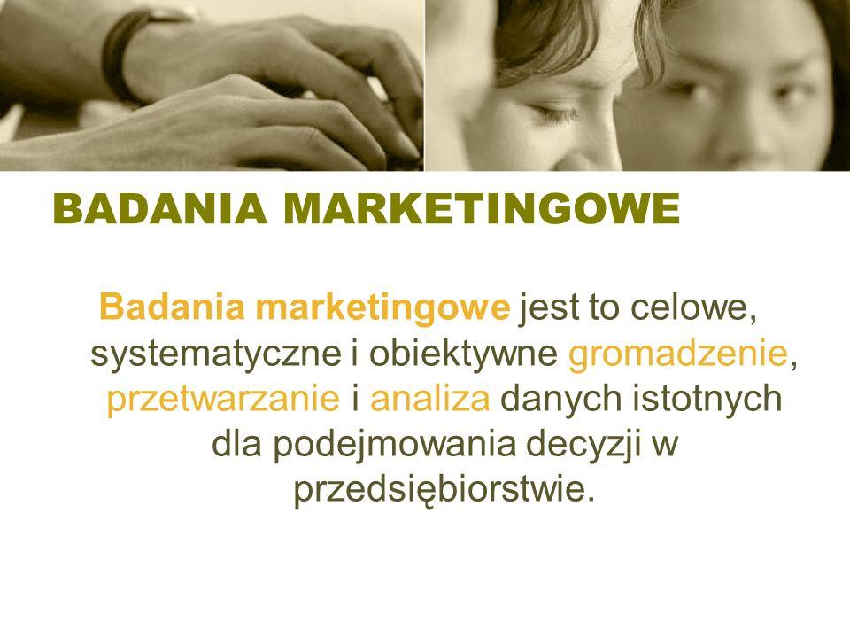 BADANIA MARKETINGOWE Badania marketingowe jest to celowe, systematyczne i obiektywne gromadzenie, przetwarzanie i analiza danych istotnych dla podejmowania decyzji w przedsiębiorstwie.