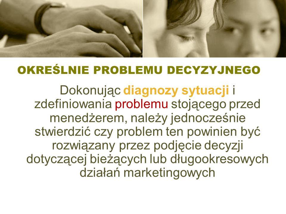OKREŚLNIE PROBLEMU DECYZYJNEGO Dokonując diagnozy sytuacji i zdefiniowania problemu stojącego przed menedżerem, należy jednocześnie stwierdzić czy pro