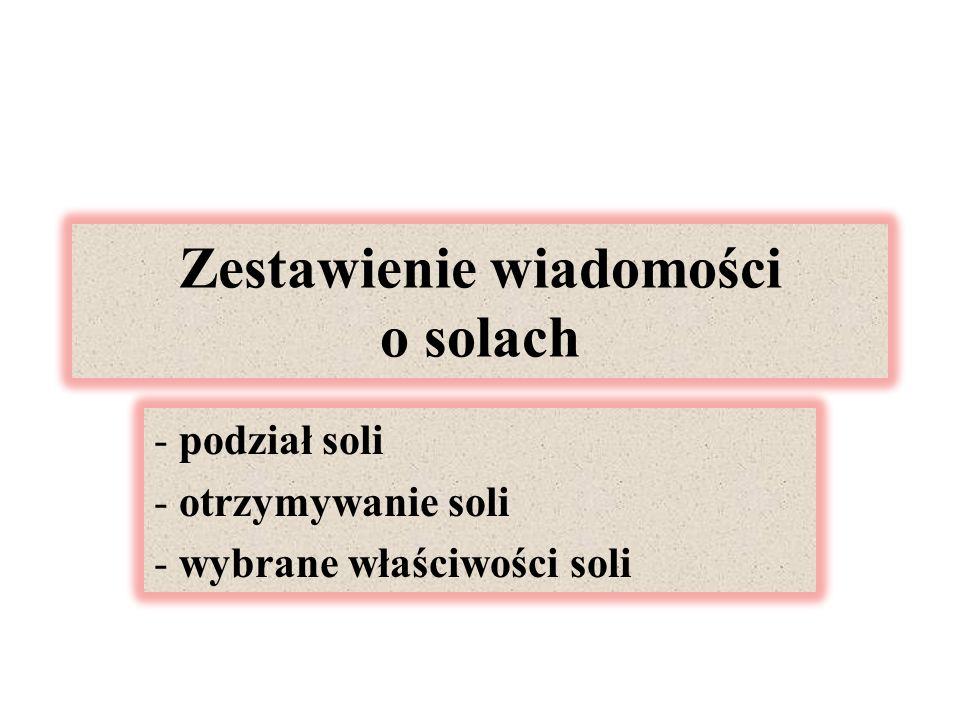 Zestawienie wiadomości o solach - podział soli - otrzymywanie soli - wybrane właściwości soli