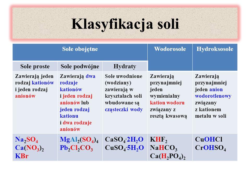 Klasyfikacja soli Sole obojętneWodorosoleHydroksosole Sole prosteSole podwójneHydraty Zawierają jeden rodzaj kationów i jeden rodzaj anionów Zawierają dwa rodzaje kationów i jeden rodzaj anionów lub jeden rodzaj kationu i dwa rodzaje anionów Sole uwodnione (wodziany) zawierają w kryształach soli wbudowane są cząsteczki wody Zawierają przynajmniej jeden wymienialny kation wodoru związany z resztą kwasową Zawierają przynajmniej jeden anion wodorotlenowy związany z kationem metalu w soli Na 2 SO 4 Ca(NO 3 ) 2 KBr MgAl 2 (SO 4 ) 4 Pb 2 Cl 2 CO 3 CaSO 4.
