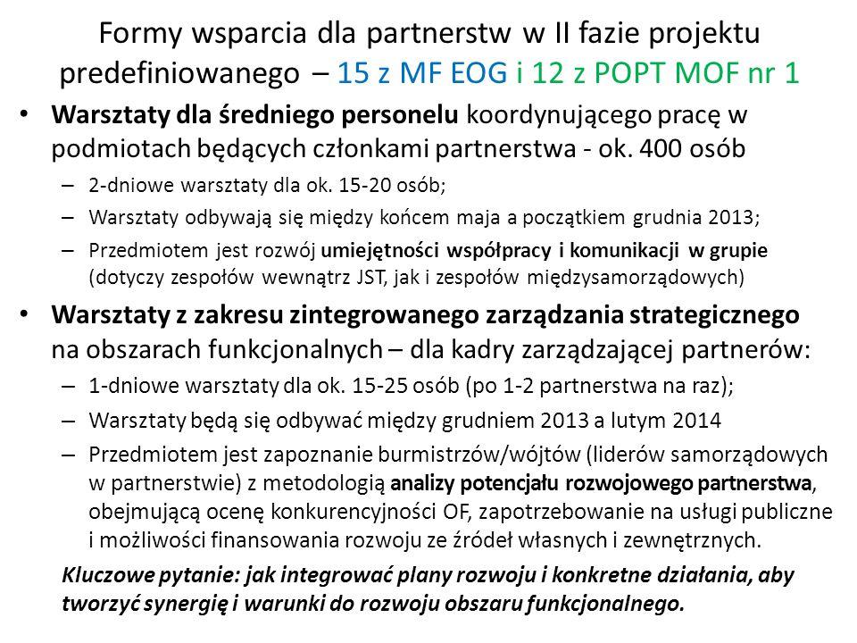 Formy wsparcia dla partnerstw w II fazie projektu predefiniowanego – 15 z MF EOG i 12 z POPT MOF nr 1 Warsztaty dla średniego personelu koordynującego pracę w podmiotach będących członkami partnerstwa - ok.