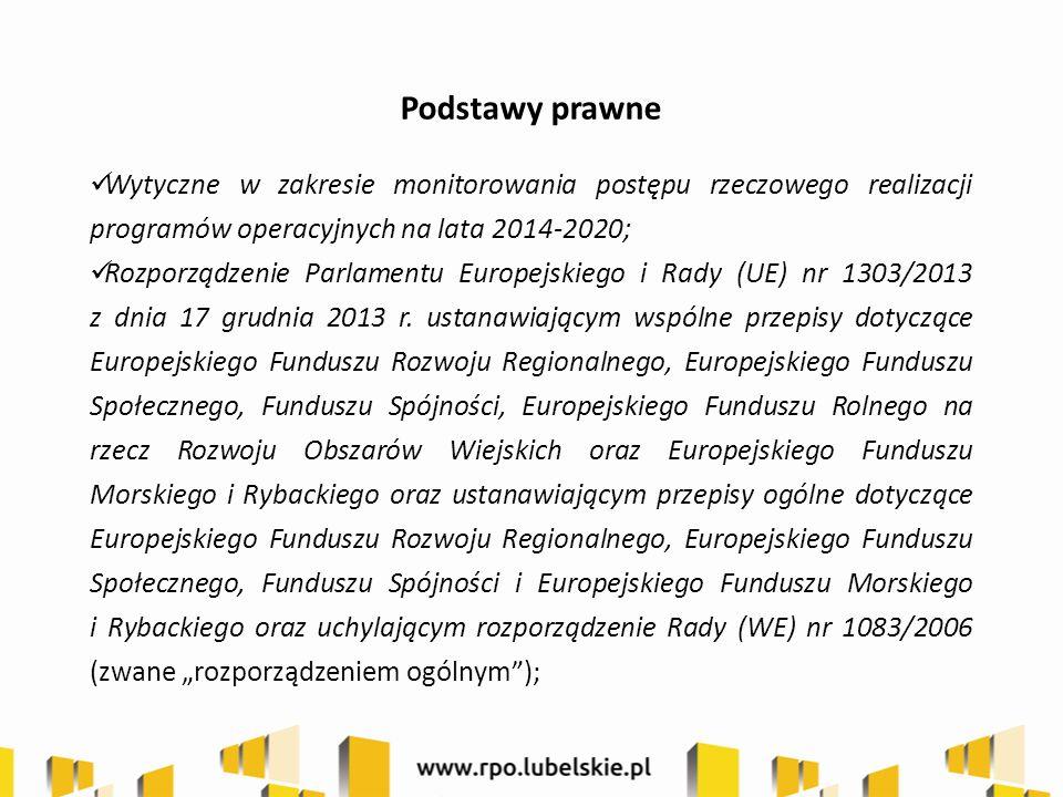 Podstawy prawne Wytyczne w zakresie monitorowania postępu rzeczowego realizacji programów operacyjnych na lata 2014-2020; Rozporządzenie Parlamentu Europejskiego i Rady (UE) nr 1303/2013 z dnia 17 grudnia 2013 r.
