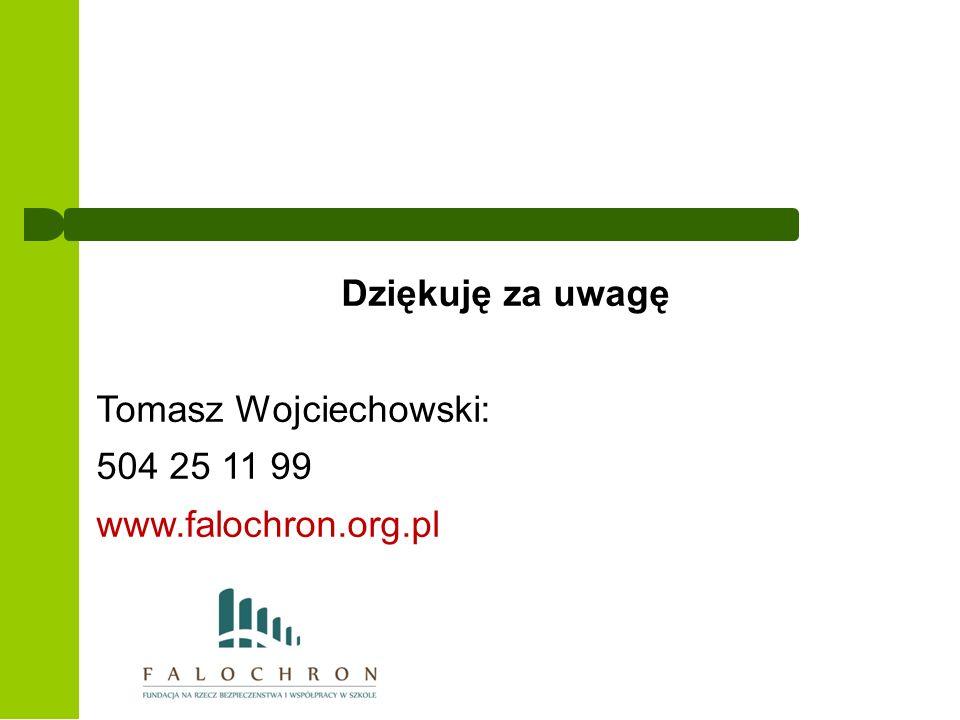 Dziękuję za uwagę Tomasz Wojciechowski: 504 25 11 99 www.falochron.org.pl