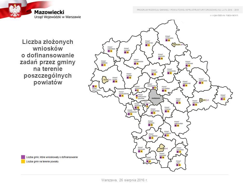 Liczba złożonych wniosków o dofinansowanie zadań przez gminy na terenie poszczególnych powiatów PROGRAM ROZWOJU GMINNEJ I POWIATOWEJ INFRASTRUKTURY DR