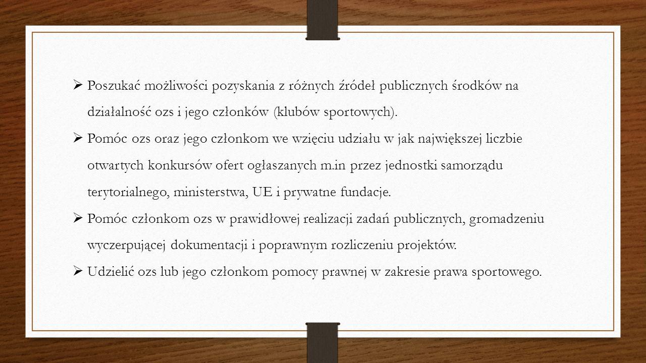  Poszukać możliwości pozyskania z różnych źródeł publicznych środków na działalność ozs i jego członków (klubów sportowych).