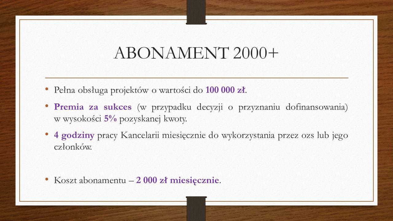 ABONAMENT 2000+ Pełna obsługa projektów o wartości do 100 000 zł.