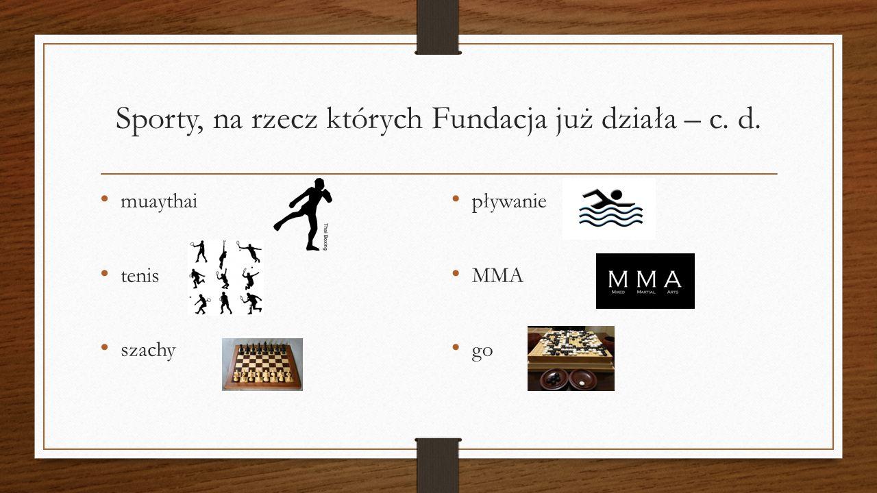 Sporty, na rzecz których Fundacja już działa – c. d. muaythai tenis szachy pływanie MMA go