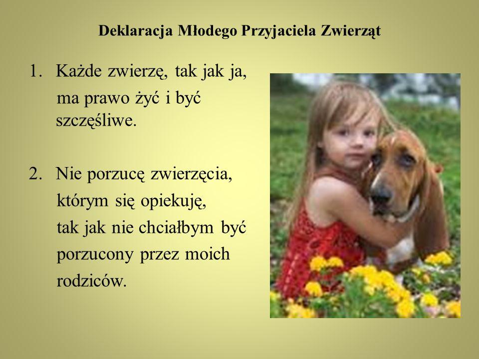 Deklaracja Młodego Przyjaciela Zwierząt 1.Każde zwierzę, tak jak ja, ma prawo żyć i być szczęśliwe.