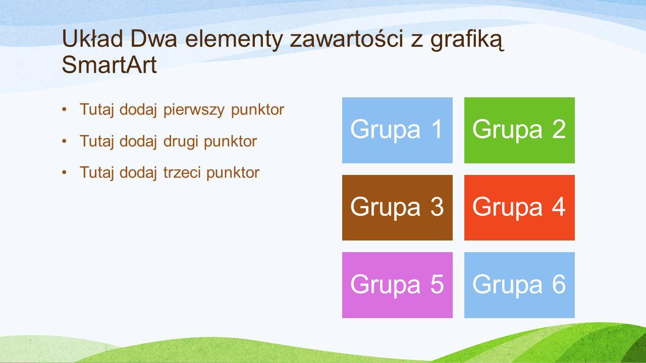Układ Dwa elementy zawartości z grafiką SmartArt Tutaj dodaj pierwszy punktor Tutaj dodaj drugi punktor Tutaj dodaj trzeci punktor Grupa 1Grupa 2 Grupa 3Grupa 4 Grupa 5Grupa 6
