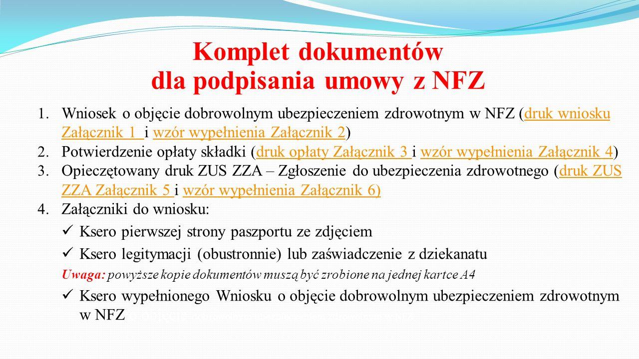 Komplet dokumentów dla podpisania umowy z NFZ 1.
