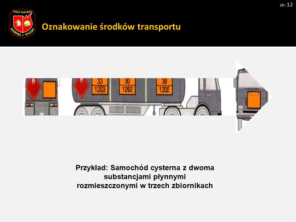 Oznakowanie środków transportu str. 12 Przykład: Samochód cysterna z dwoma substancjami płynnymi rozmieszczonymi w trzech zbiornikach