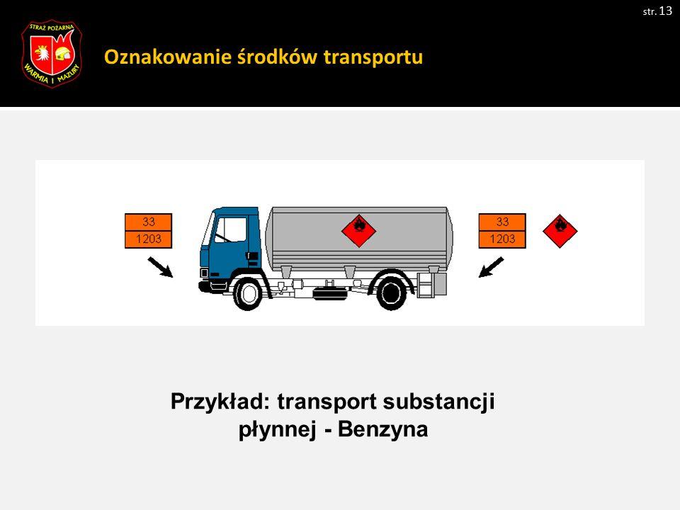 Oznakowanie środków transportu str. 13 Przykład: transport substancji płynnej - Benzyna