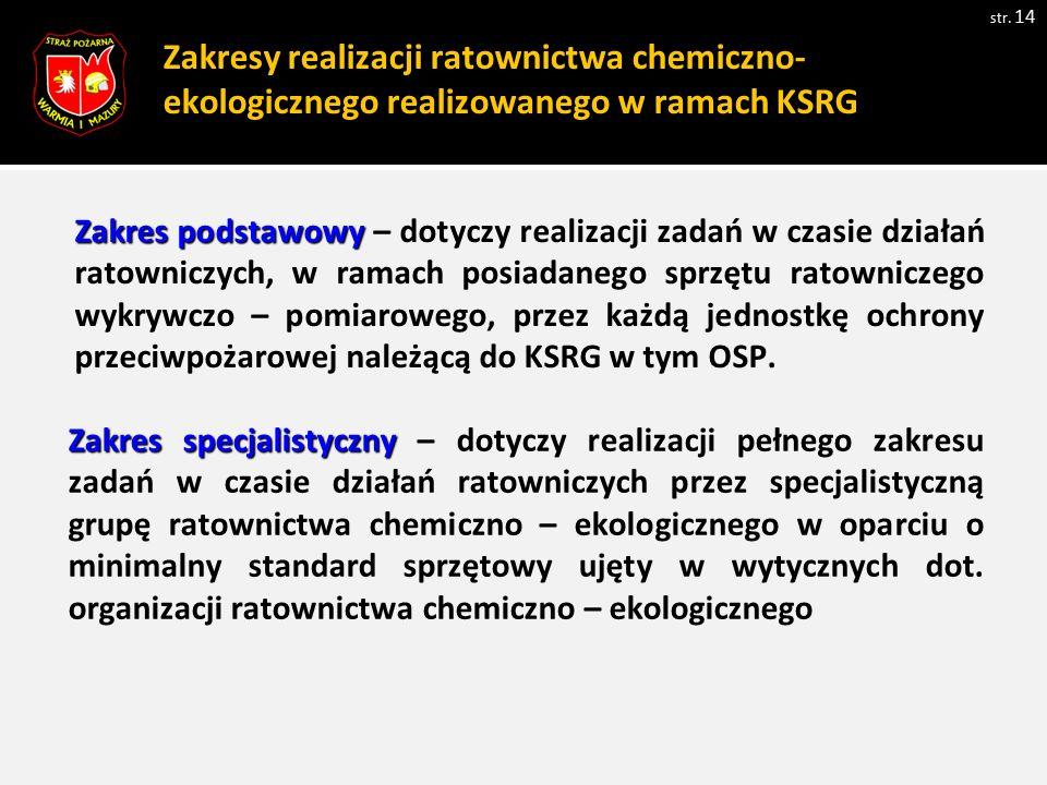 Zakresy realizacji ratownictwa chemiczno- ekologicznego realizowanego w ramach KSRG str. 14 Zakres podstawowy Zakres podstawowy – dotyczy realizacji z