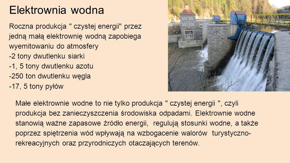 Elektrownia wodna Roczna produkcja czystej energii przez jedną małą elektrownię wodną zapobiega wyemitowaniu do atmosfery -2 tony dwutlenku siarki -1, 5 tony dwutlenku azotu -250 ton dwutlenku węgla -17, 5 tony pyłów Małe elektrownie wodne to nie tylko produkcja czystej energii , czyli produkcja bez zanieczyszczenia środowiska odpadami.