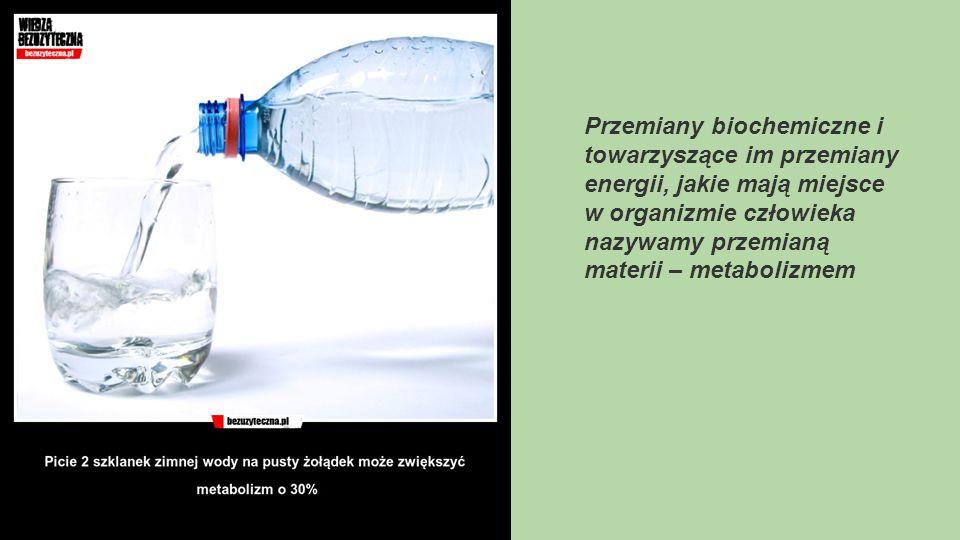 Przemiany biochemiczne i towarzyszące im przemiany energii, jakie mają miejsce w organizmie człowieka nazywamy przemianą materii – metabolizmem