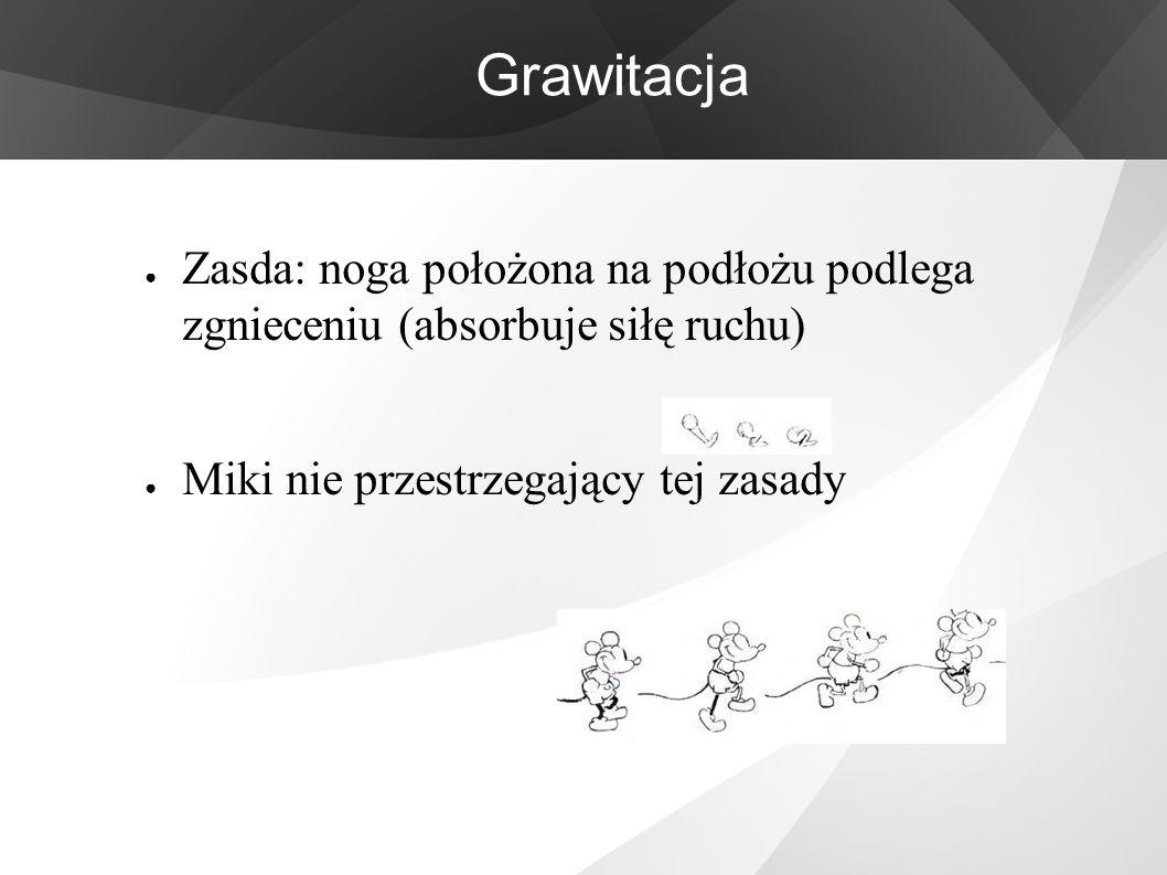 Grawitacja ● Zasda: noga położona na podłożu podlega zgnieceniu (absorbuje siłę ruchu) ● Miki nie przestrzegający tej zasady