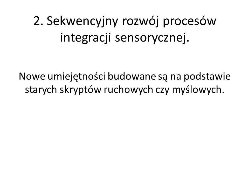 2. Sekwencyjny rozwój procesów integracji sensorycznej.