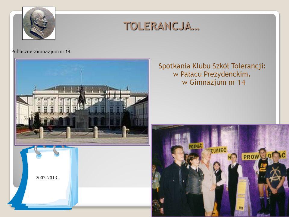 TOLERANCJA… Publiczne Gimnazjum nr 14 2003-2013.