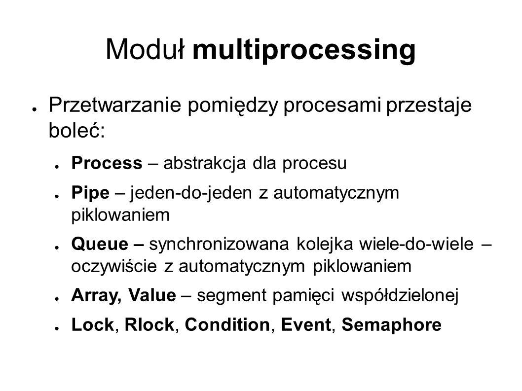 Moduł multiprocessing ● Przetwarzanie pomiędzy procesami przestaje boleć: ● Process – abstrakcja dla procesu ● Pipe – jeden-do-jeden z automatycznym piklowaniem ● Queue – synchronizowana kolejka wiele-do-wiele – oczywiście z automatycznym piklowaniem ● Array, Value – segment pamięci współdzielonej ● Lock, Rlock, Condition, Event, Semaphore