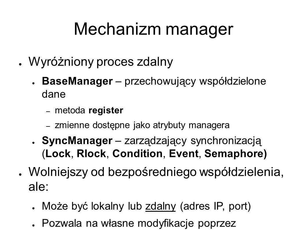 Mechanizm manager ● Wyróżniony proces zdalny ● BaseManager – przechowujący współdzielone dane – metoda register – zmienne dostępne jako atrybuty managera ● SyncManager – zarządzający synchronizacją (Lock, Rlock, Condition, Event, Semaphore) ● Wolniejszy od bezpośredniego współdzielenia, ale: ● Może być lokalny lub zdalny (adres IP, port) ● Pozwala na własne modyfikacje poprzez dziedziczenie ● Zmienne w innych procesach (Client) są udostępniane poprzez mechanizm Proxy