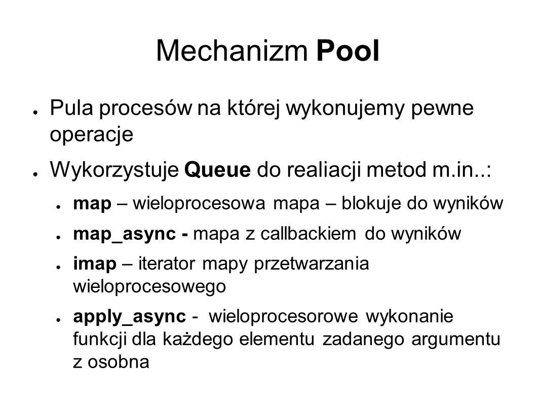 Mechanizm Pool ● Pula procesów na której wykonujemy pewne operacje ● Wykorzystuje Queue do realiacji metod m.in..: ● map – wieloprocesowa mapa – blokuje do wyników ● map_async - mapa z callbackiem do wyników ● imap – iterator mapy przetwarzania wieloprocesowego ● apply_async - wieloprocesorowe wykonanie funkcji dla każdego elementu zadanego argumentu z osobna