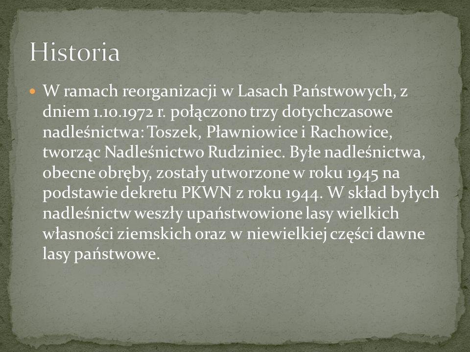 W ramach reorganizacji w Lasach Państwowych, z dniem 1.10.1972 r. połączono trzy dotychczasowe nadleśnictwa: Toszek, Pławniowice i Rachowice, tworząc