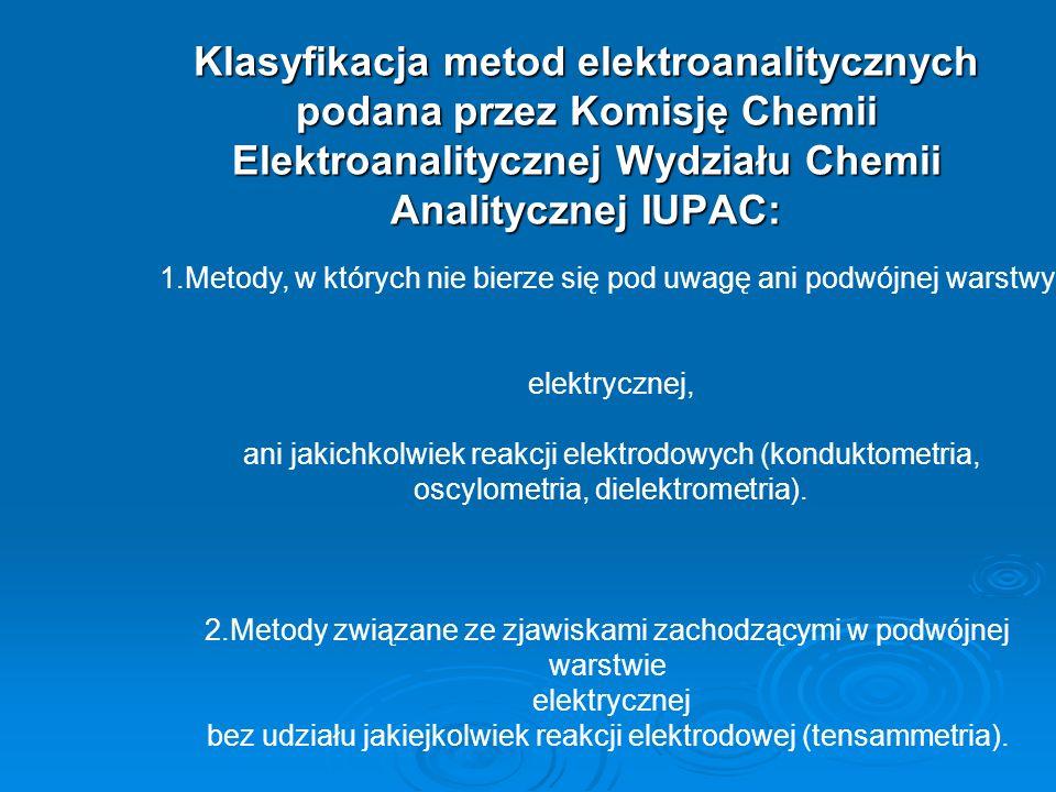 Klasyfikacja metod elektroanalitycznych podana przez Komisję Chemii Elektroanalitycznej Wydziału Chemii Analitycznej IUPAC: 1.Metody, w których nie bierze się pod uwagę ani podwójnej warstwy elektrycznej, ani jakichkolwiek reakcji elektrodowych (konduktometria, oscylometria, dielektrometria).