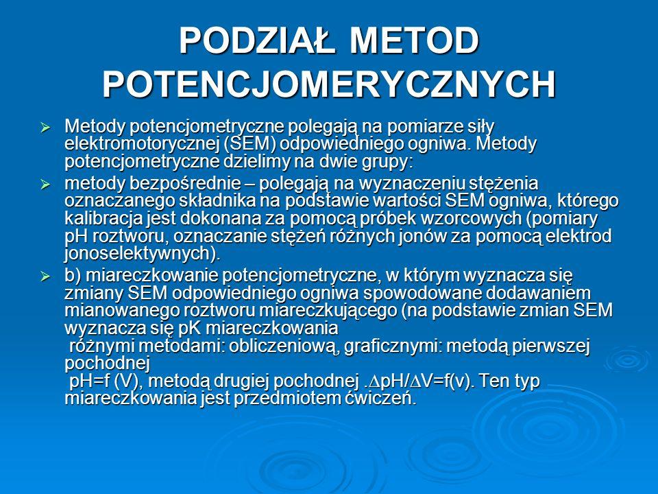 PODZIAŁ METOD POTENCJOMERYCZNYCH  Metody potencjometryczne polegają na pomiarze siły elektromotorycznej (SEM) odpowiedniego ogniwa.