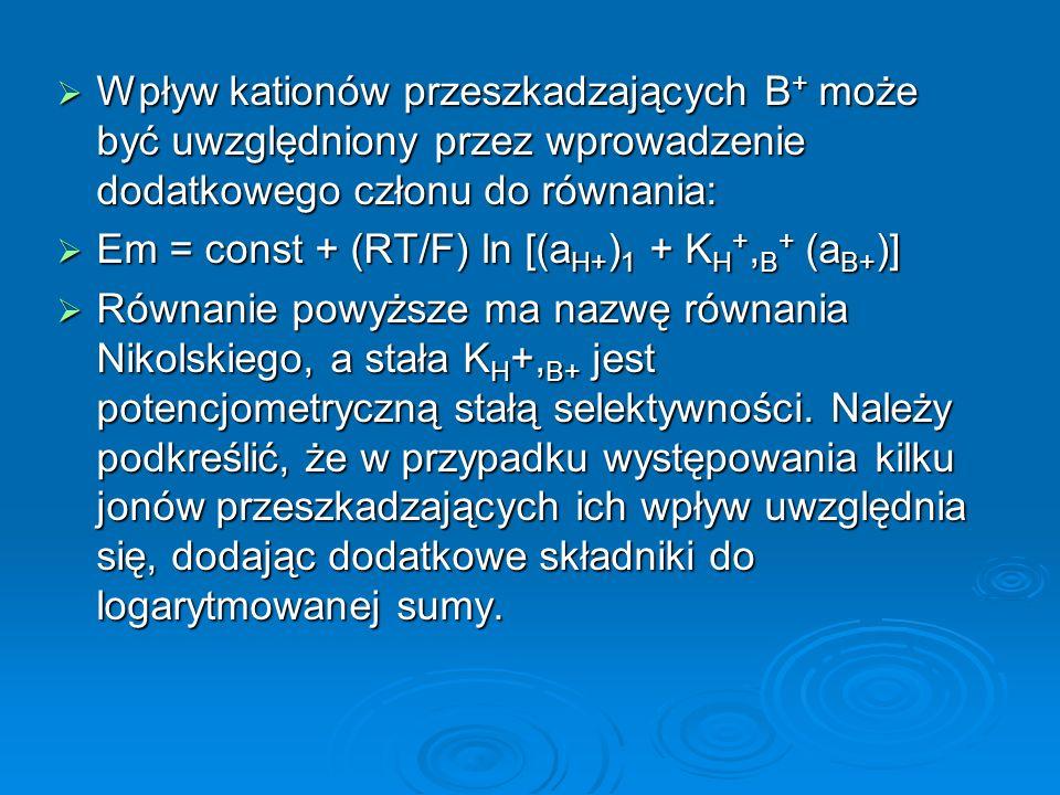  Wpływ kationów przeszkadzających B + może być uwzględniony przez wprowadzenie dodatkowego członu do równania:  Em = const + (RT/F) ln [(a H+ ) 1 + K H +, B + (a B+ )]  Równanie powyższe ma nazwę równania Nikolskiego, a stała K H +, B+ jest potencjometryczną stałą selektywności.
