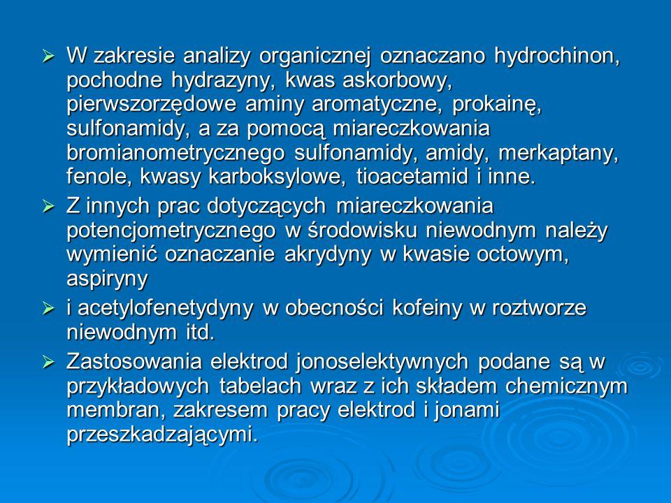  W zakresie analizy organicznej oznaczano hydrochinon, pochodne hydrazyny, kwas askorbowy, pierwszorzędowe aminy aromatyczne, prokainę, sulfonamidy, a za pomocą miareczkowania bromianometrycznego sulfonamidy, amidy, merkaptany, fenole, kwasy karboksylowe, tioacetamid i inne.