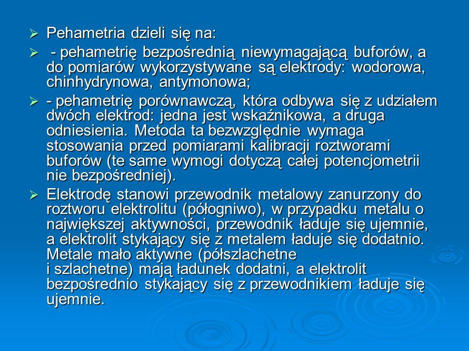  Pehametria dzieli się na:  - pehametrię bezpośrednią niewymagającą buforów, a do pomiarów wykorzystywane są elektrody: wodorowa, chinhydrynowa, antymonowa;  - pehametrię porównawczą, która odbywa się z udziałem dwóch elektrod: jedna jest wskaźnikowa, a druga odniesienia.
