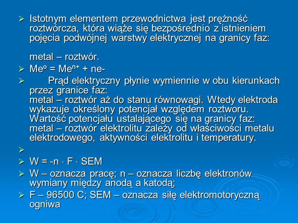  Istotnym elementem przewodnictwa jest prężność roztwórcza, która wiąże się bezpośrednio z istnieniem pojęcia podwójnej warstwy elektrycznej na granicy faz: metal – roztwór.