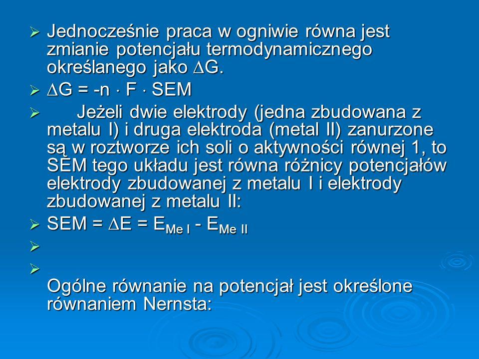  E = Eo + RT/nF lna oks /a red   E – oznacza potencjał elektrody; Eo – potencjał normalny elektrody; R – stałą gazową 8,314 [I  K-1  mol-1]; T – temperatura bezwzględna w stopniach K; F – stała Faradaya 9,685  104/C  mol-1; n – liczba elektronów biorących udział w reakcji red-oks; a– aktywność oznaczanego jonu, która jest związana z jego stężeniem poprzez zależność a = f  c (f j – oznacza współczynnik aktywności jonu).