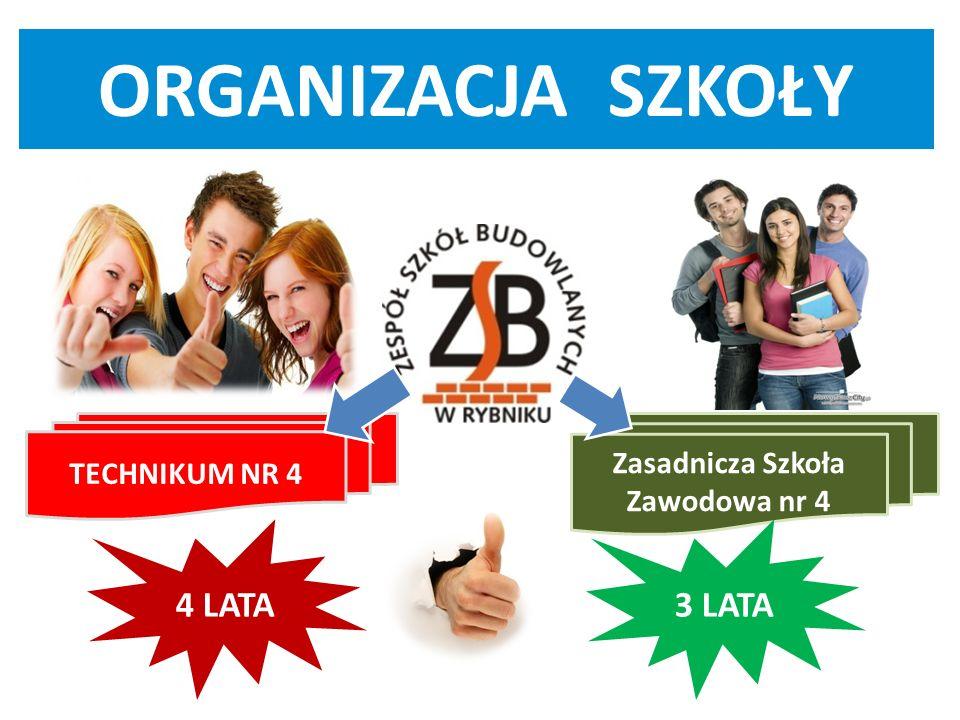 TECHNIKUM NR 4 Zasadnicza Szkoła Zawodowa nr 4 4 LATA3 LATA ORGANIZACJA SZKOŁY