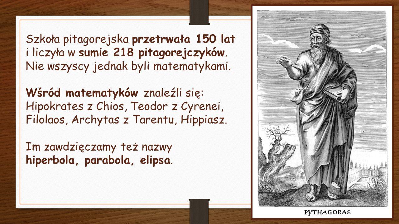 Szkoła pitagorejska przetrwała 150 lat i liczyła w sumie 218 pitagorejczyków.