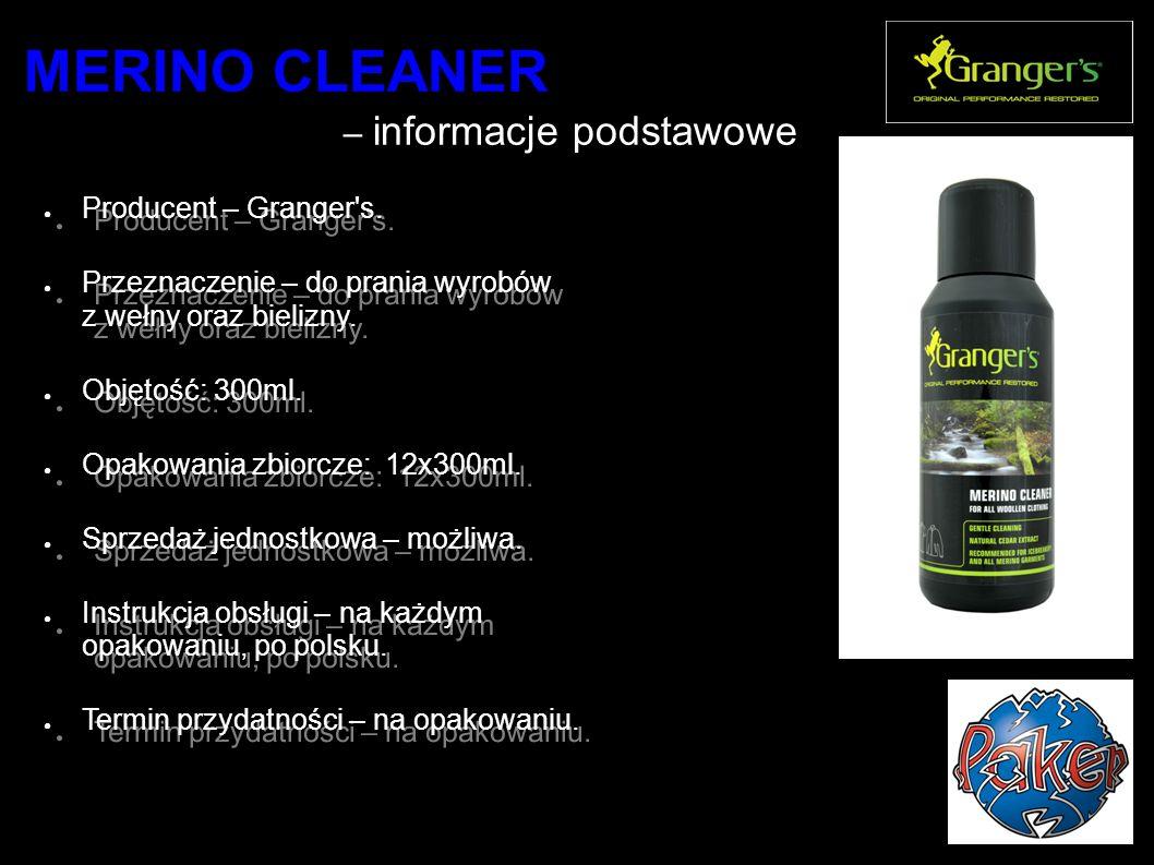 MERINO CLEANER - ko rzyści użytkownika ● Intensywne czyszczenie odzieży.