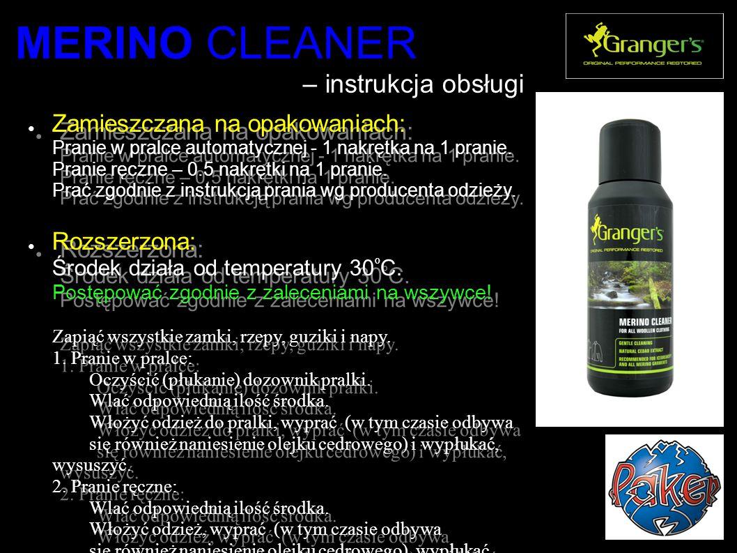 MERINO CLEANER – instrukcja obsługi ● Zamieszczana na opakowaniach: Pranie w pralce automatycznej - 1 nakrętka na 1 pranie.
