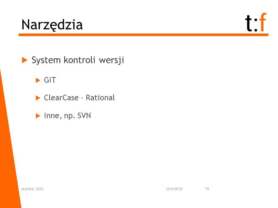  System kontroli wersji  GIT  ClearCase - Rational  Inne, np. SVN Narzędzia 2016-09-20test:fest 201619
