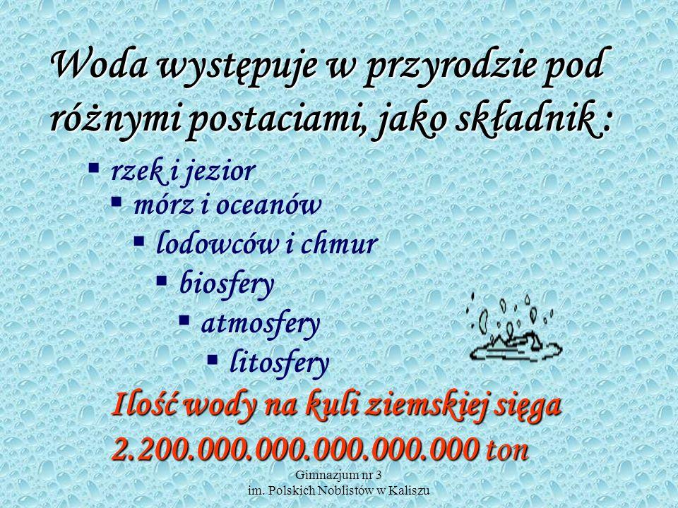 Gimnazjum nr 3 im. Polskich Noblistów w Kaliszu Zużycie wody w naszych domach