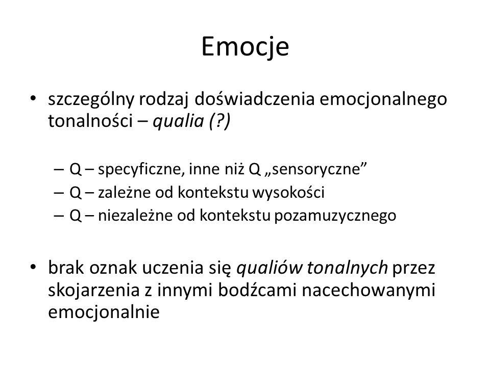 """Emocje szczególny rodzaj doświadczenia emocjonalnego tonalności – qualia ( ) – Q – specyficzne, inne niż Q """"sensoryczne – Q – zależne od kontekstu wysokości – Q – niezależne od kontekstu pozamuzycznego brak oznak uczenia się qualiów tonalnych przez skojarzenia z innymi bodźcami nacechowanymi emocjonalnie"""
